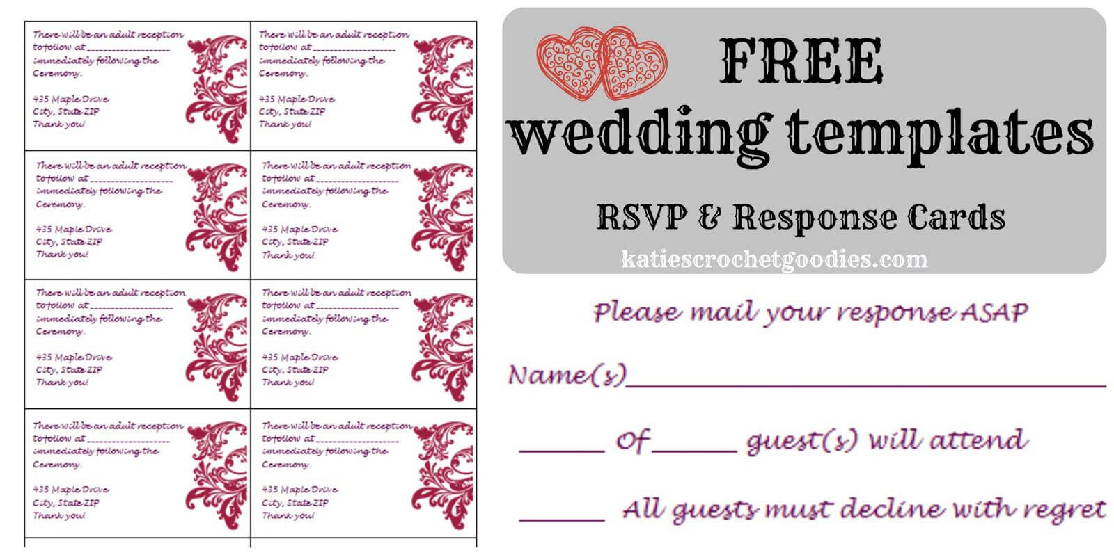 Free Wedding Rsvp & Response Card Template Templat | Free Within Free Printable Wedding Rsvp Card Templates