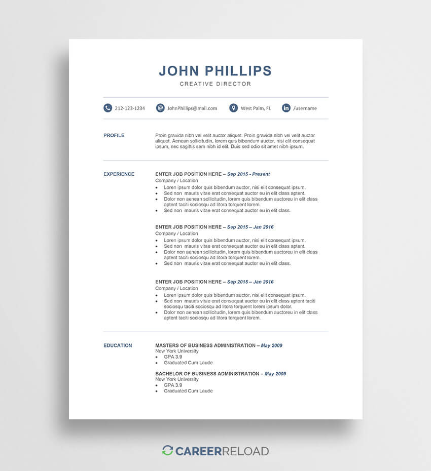 Free Word Resume Templates - Free Microsoft Word Cv Templates Throughout Free Downloadable Resume Templates For Word