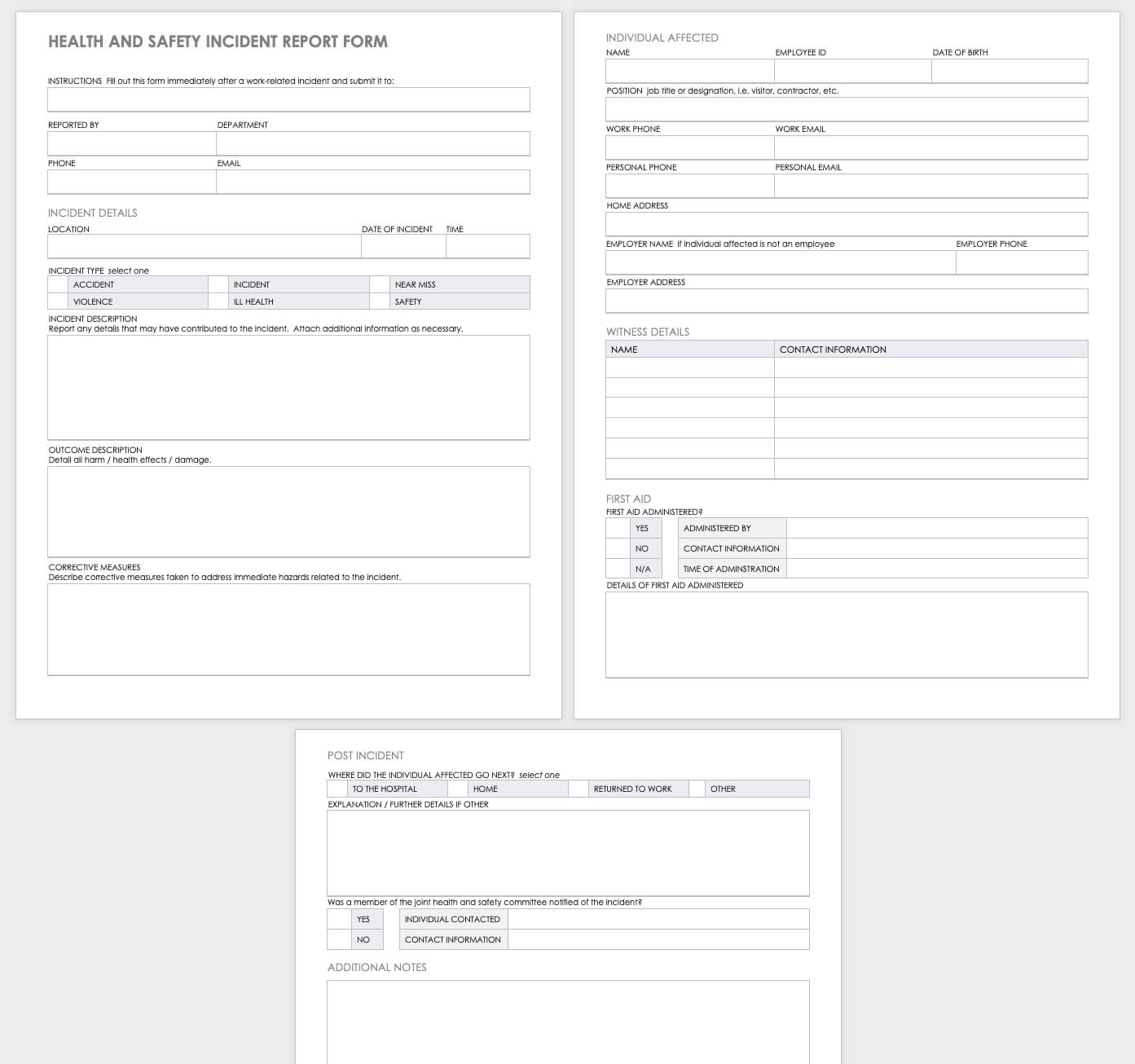 Free Workplace Accident Report Templates | Smartsheet Intended For Health And Safety Incident Report Form Template