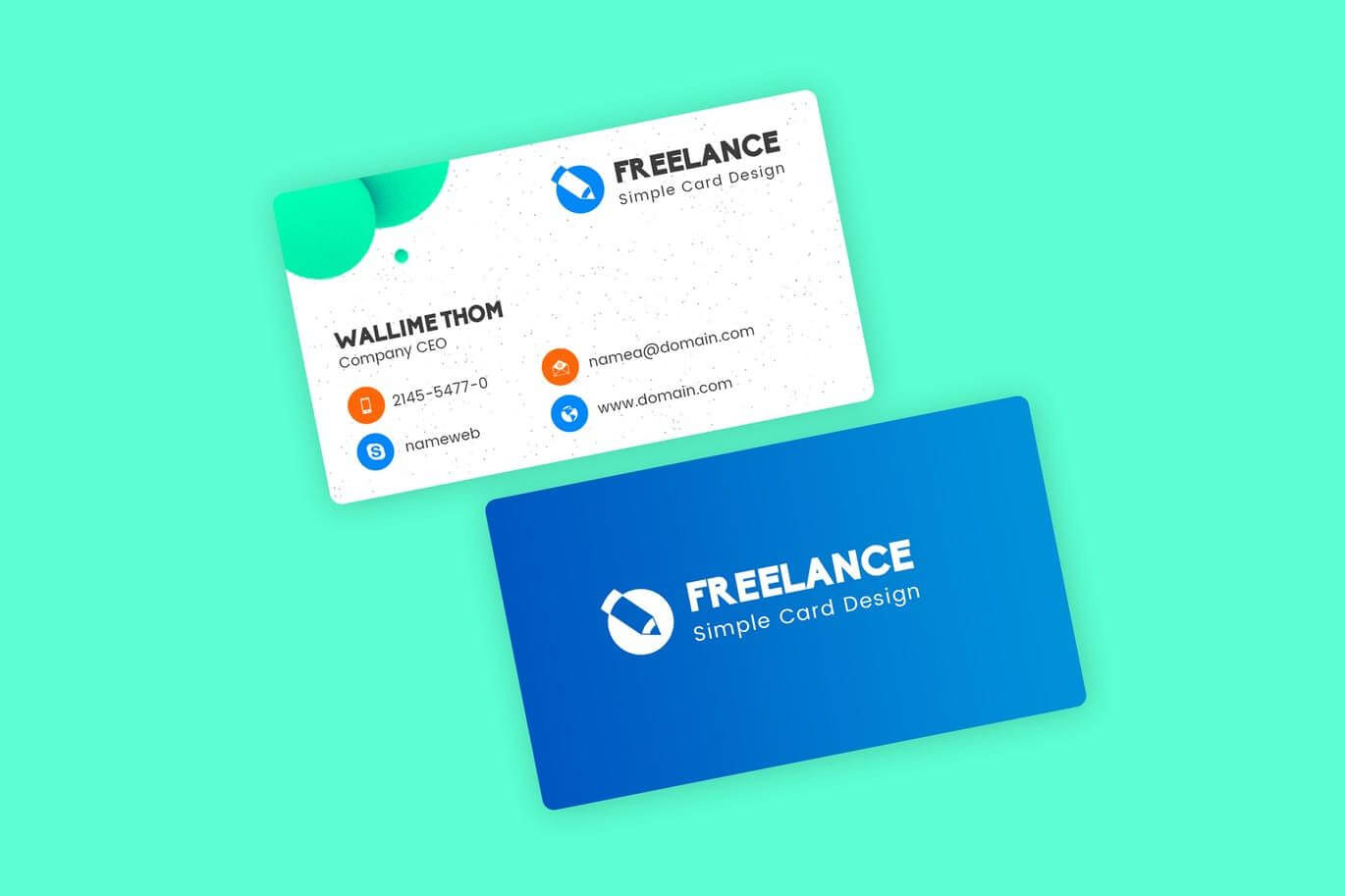 Freelancer Business Visiting Cards Design Template Psd Within Freelance Business Card Template