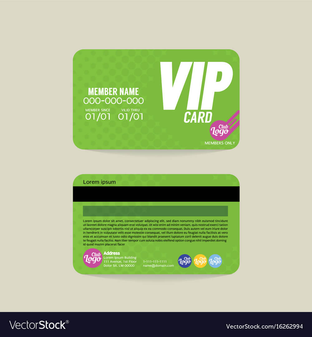 Front And Back Vip Member Card Template Throughout Membership Card Template Free