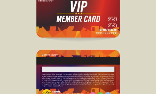 Front And Back Vip Member Card Template with Template For Membership Cards
