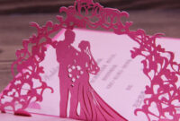 Fuchsia Invitation Wedding Card Laser Cut Art Paper 3D Pop within Pop Up Wedding Card Template Free