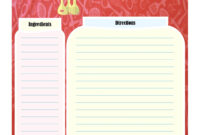 Full Page Recipe Card   Printable Recipe Cards, Cookbook with Recipe Card Design Template