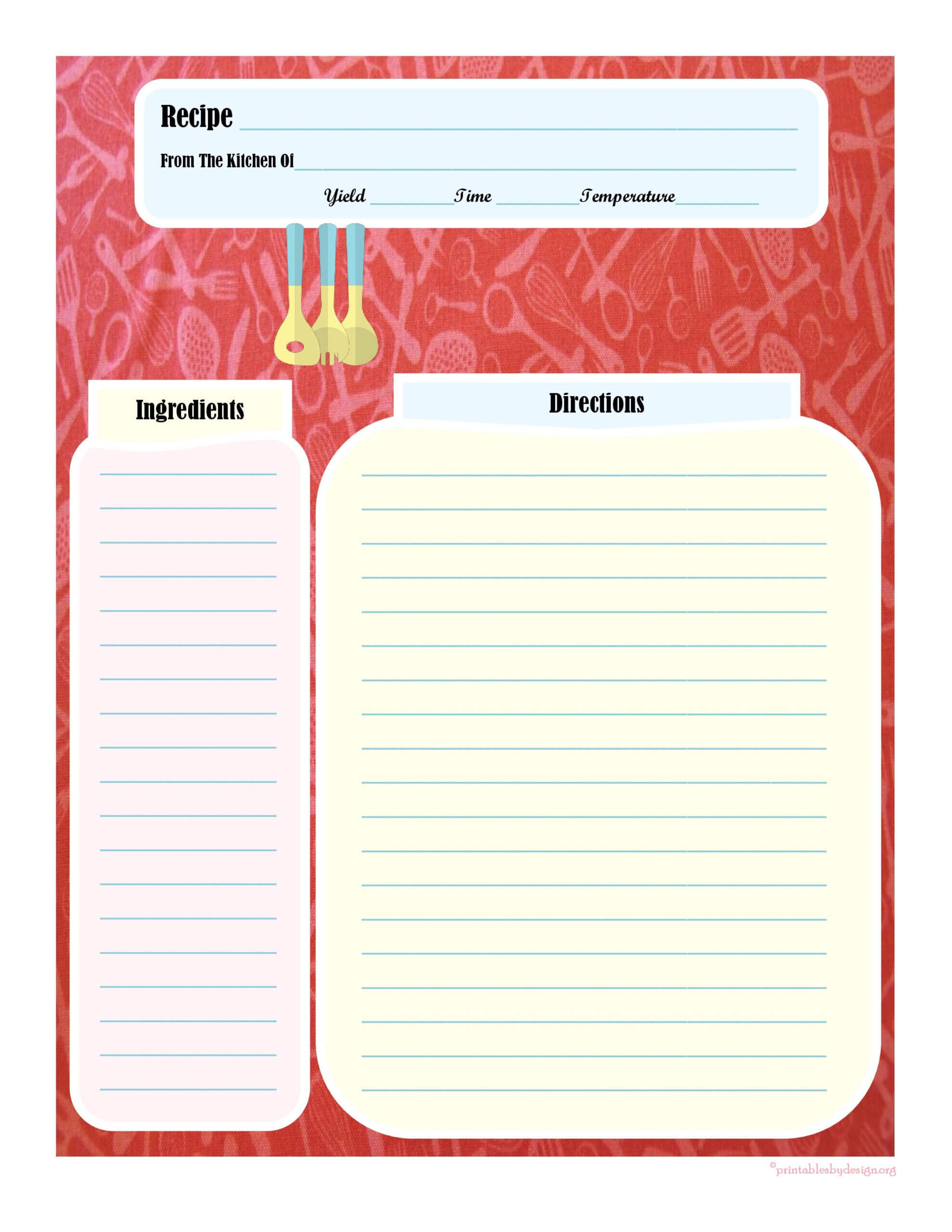 Full Page Recipe Card | Printable Recipe Cards, Cookbook With Recipe Card Design Template