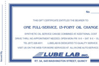 Full-Service, 13-Point Oil Change | All In One & Lube Lab inside This Certificate Entitles The Bearer Template