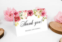 Fully Editable Burgundy Thank You Card, Printable Blush Pink with Powerpoint Thank You Card Template