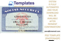 Fully Editable Ssn Usa Psd Template regarding Editable Social Security Card Template