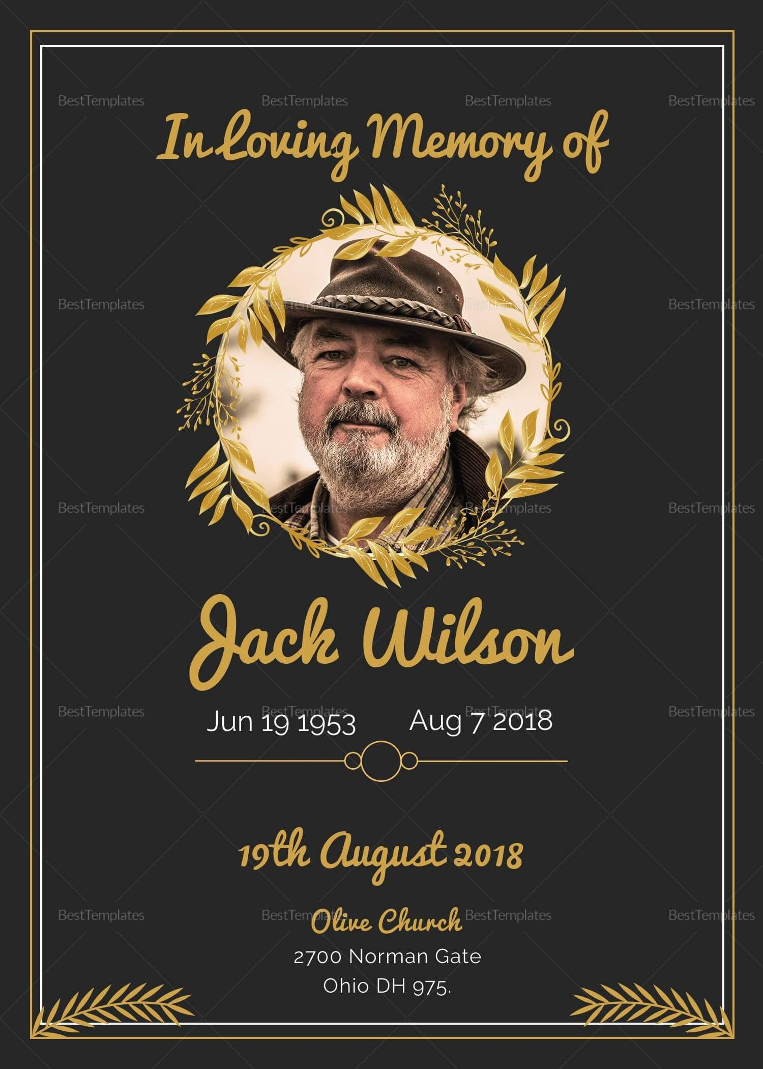 Funeral Invitation Card Template | Funeral Invitation Intended For Funeral Invitation Card Template
