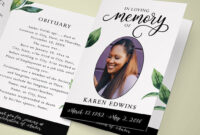 Funeral Program Editable Template, Printable Funeral Pertaining To Memorial Brochure Template