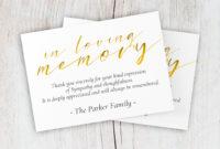 Funeral Thank You Card, Printable Memorial Thank You Card with Sympathy Thank You Card Template