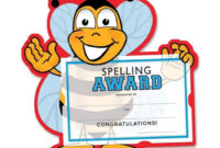 Funny Bee With Spelling Certificate Free Image inside Spelling Bee Award Certificate Template