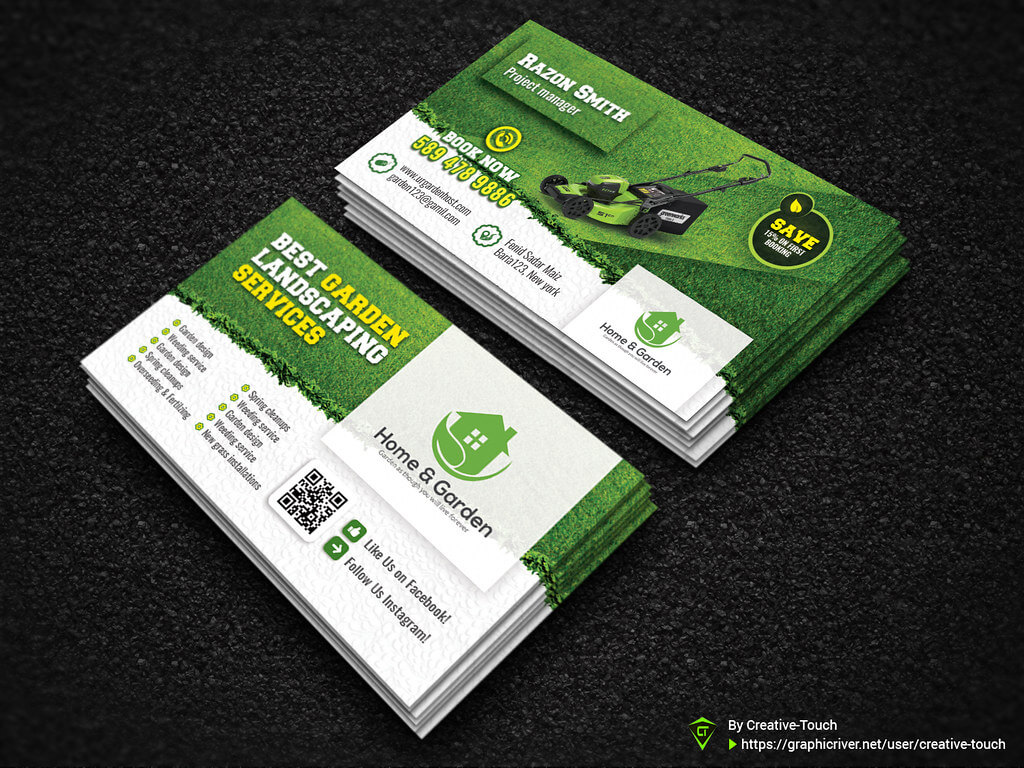 Garden Landscape Business Card Template | Fully Editable Tem Intended For Gardening Business Cards Templates