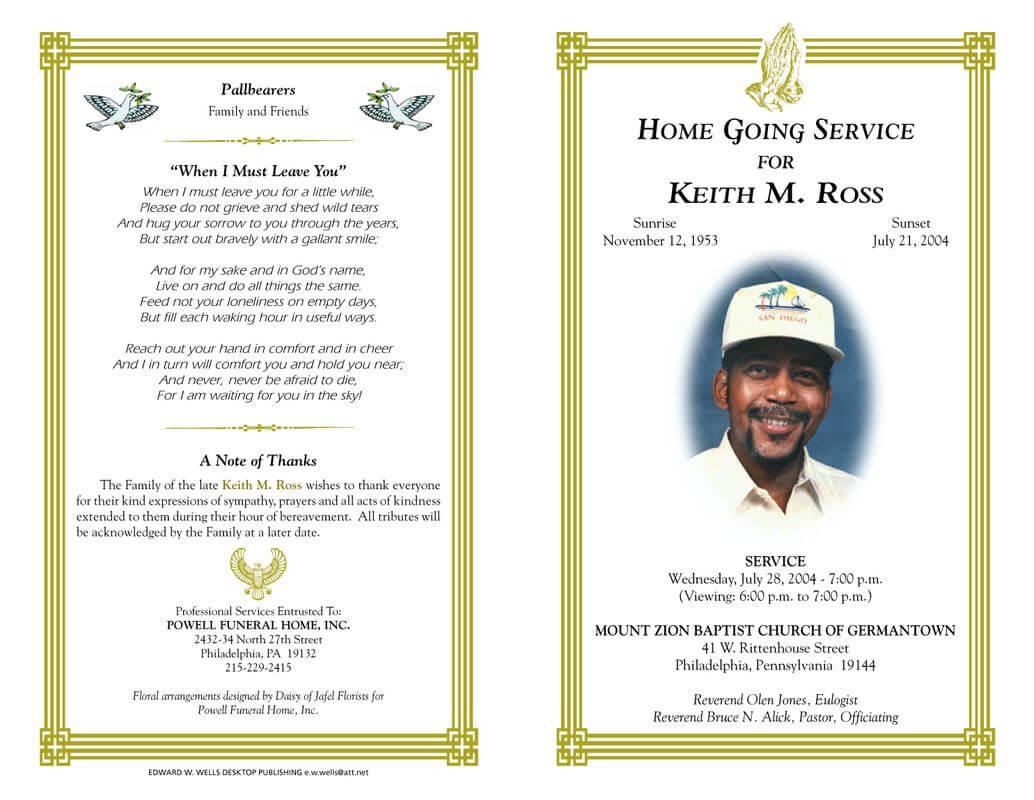 Gggggggggggggggg   Funeral Program Template Free, Program With Regard To Memorial Brochure Template