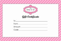 Gift Card Certificate Template Unique Gift Certificate pertaining to Pink Gift Certificate Template