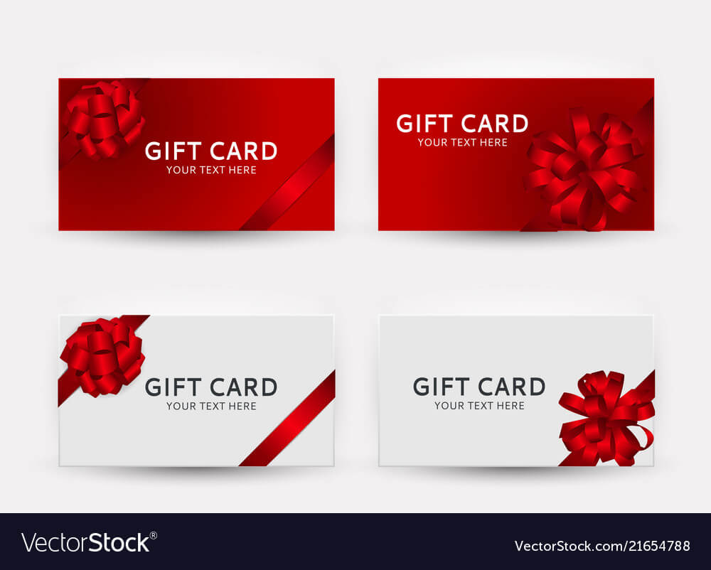 Gift Card Template Collection Set With Bow And Within Gift Card Template Illustrator