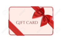 Gift Card Template With Red Ribbon And A Bow. Vector Illustration Within Present Card Template