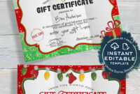 Gift Certificate , Editable Gift Certificate From Santa intended for Kids Gift Certificate Template