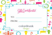 Gift Certificate Template For Gift Voucher | Printable Shelter inside Kids Gift Certificate Template