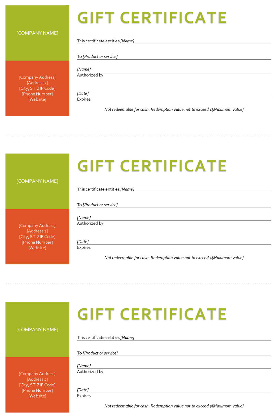 Gift Certificate Template - Sample Gift Certificate For Company Gift Certificate Template