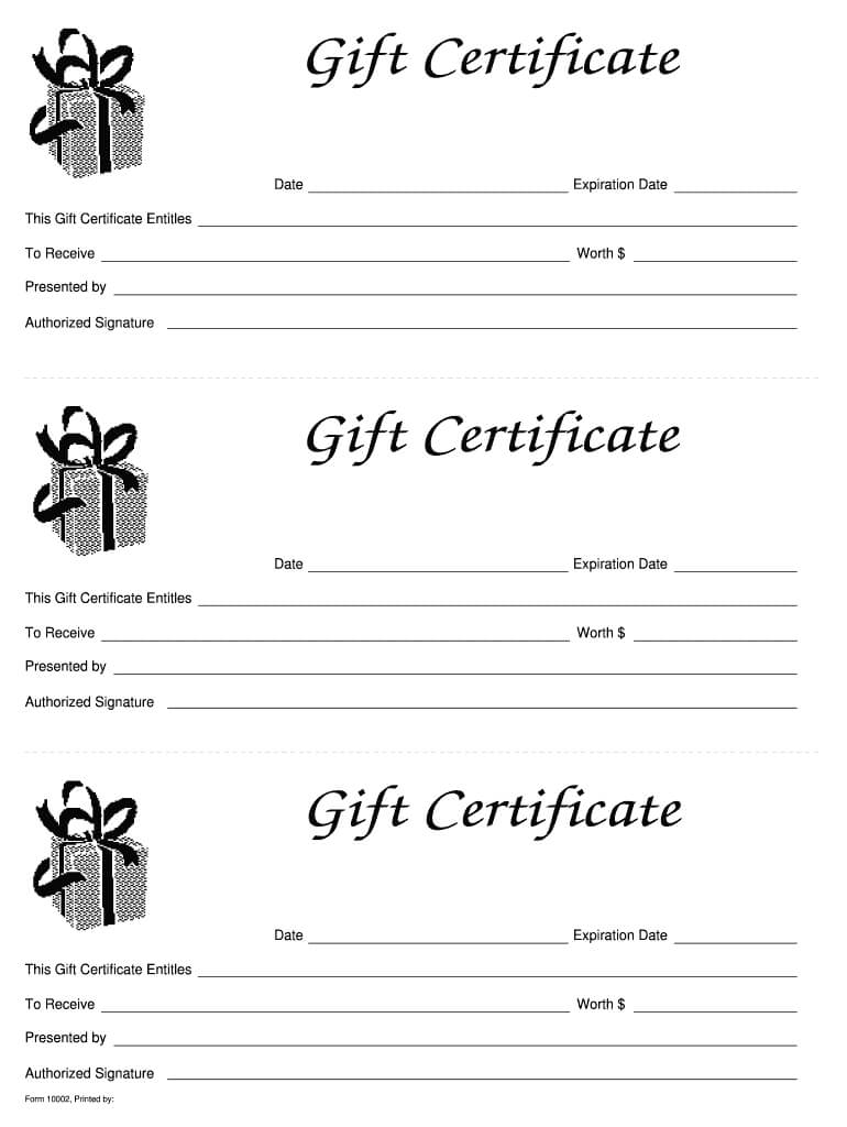 Gift Certificate Templates Printable - Fill Online Throughout Fillable Gift Certificate Template Free