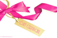 Gift Certificate With A White Background And A Pink Ribbon throughout Pink Gift Certificate Template