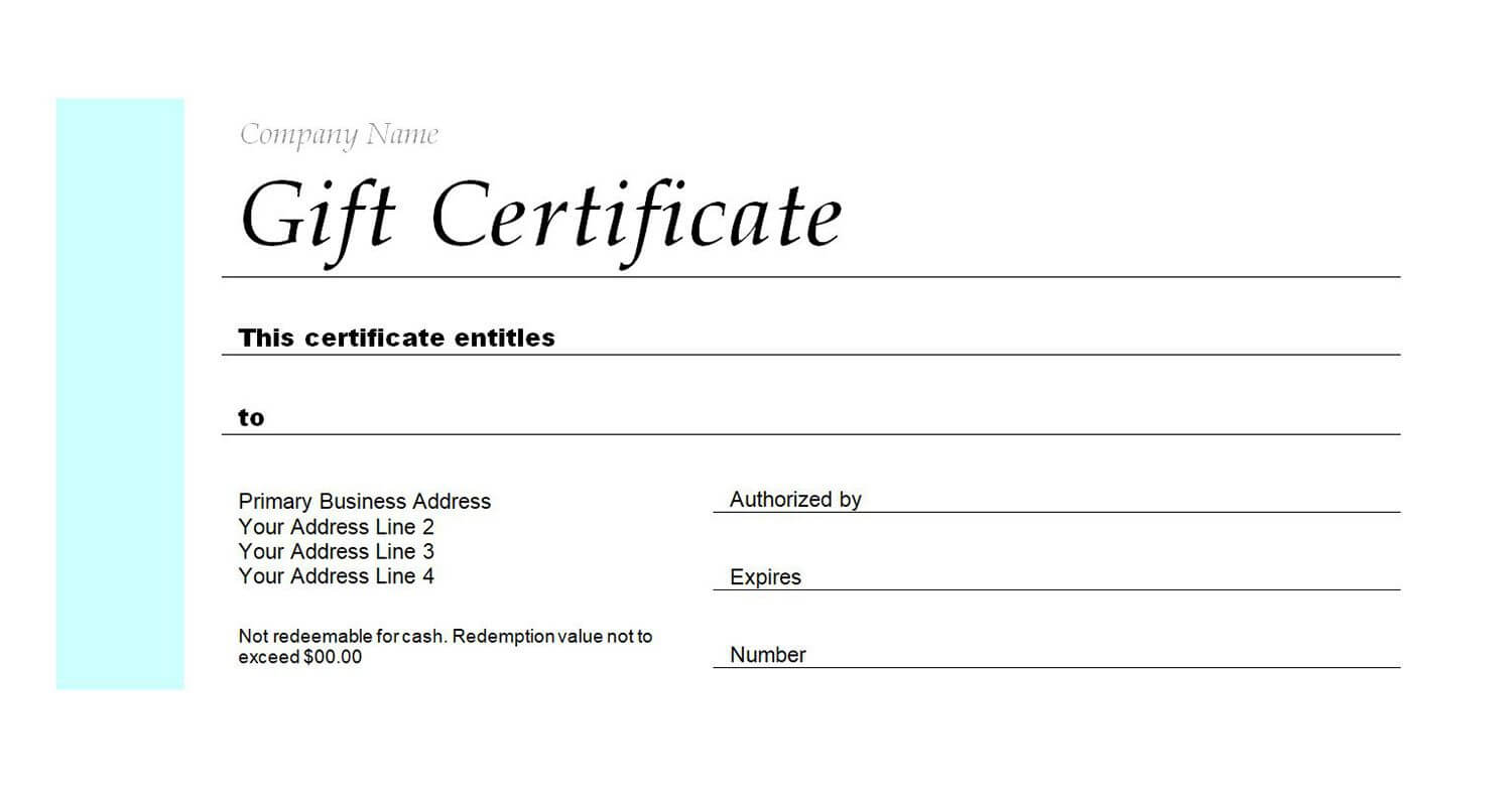 Gift Certificates Templates Free For Word - Zimer.bwong.co With Regard To Gift Certificate Template Publisher