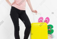 Girl Suitcase Isolated Image & Photo (Free Trial) | Bigstock in Blank Suitcase Template