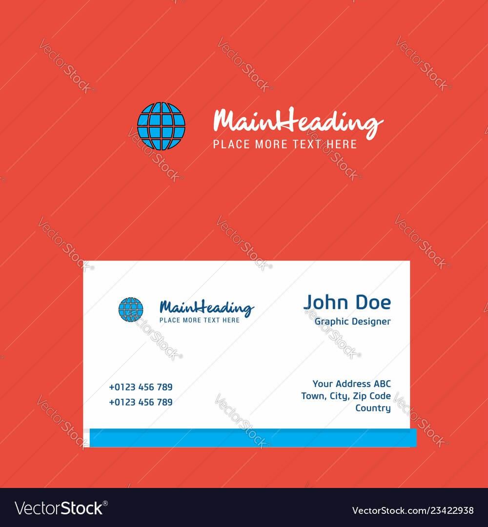Globe Logo Design With Business Card Template Vector Image On Vectorstock Regarding Adobe Illustrator Business Card Template