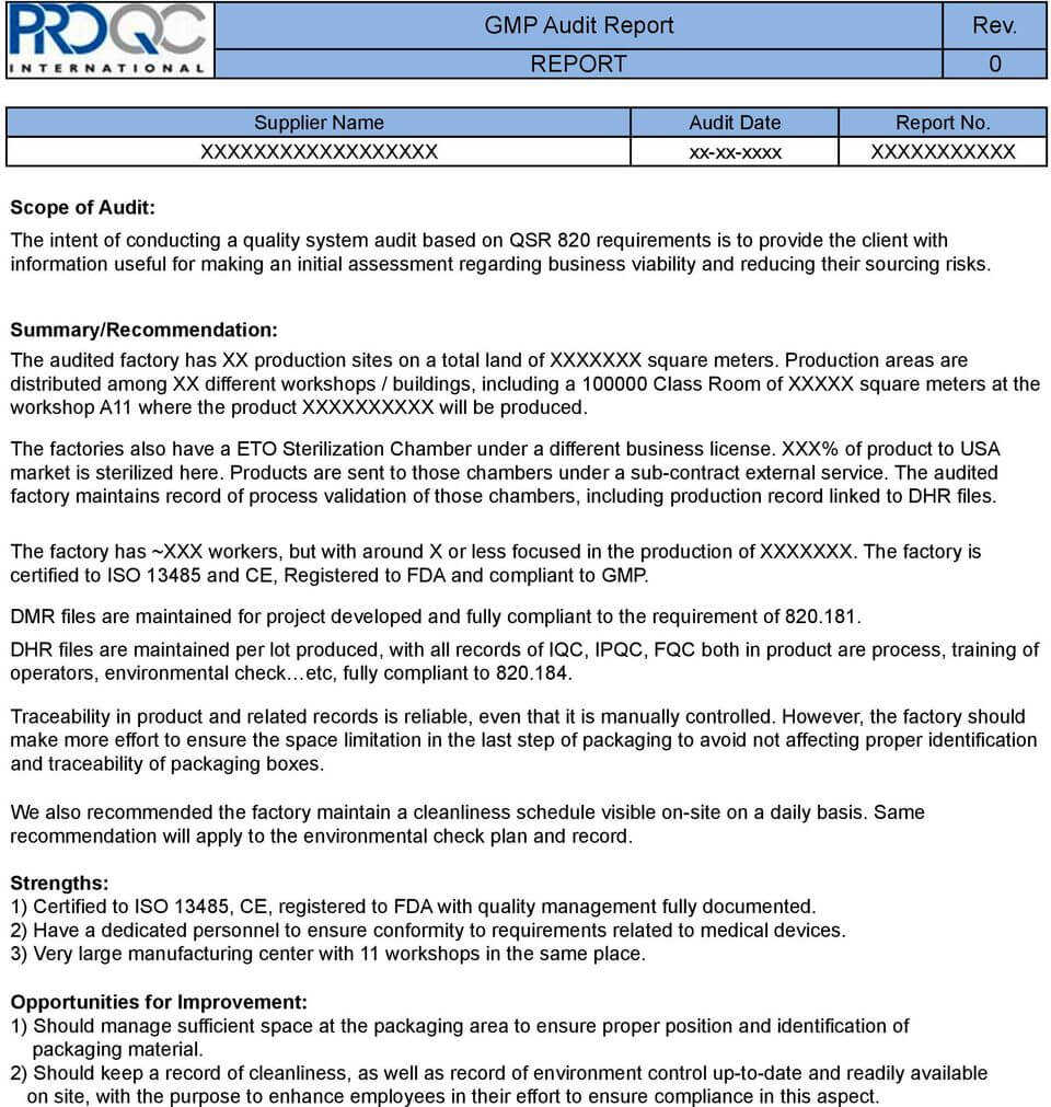 Gmp Audit Report. * Example Report * - Pdf Free Download With Regard To Gmp Audit Report Template