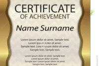Gold Certificate Of Achievement Or Diploma. Template regarding Certificate Of Attainment Template