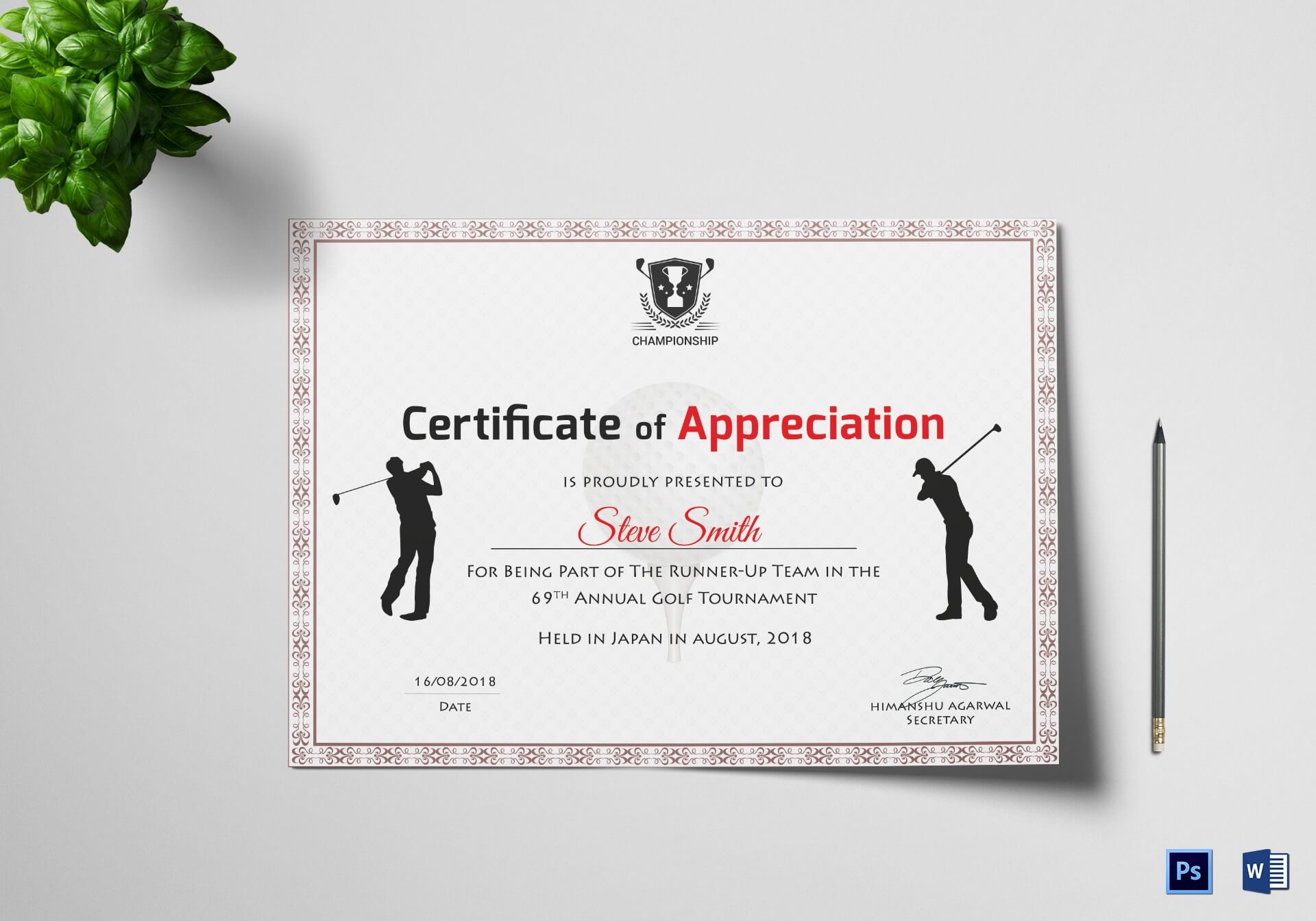 Golf Appreciation Certificate Template Within Golf Certificate Templates For Word