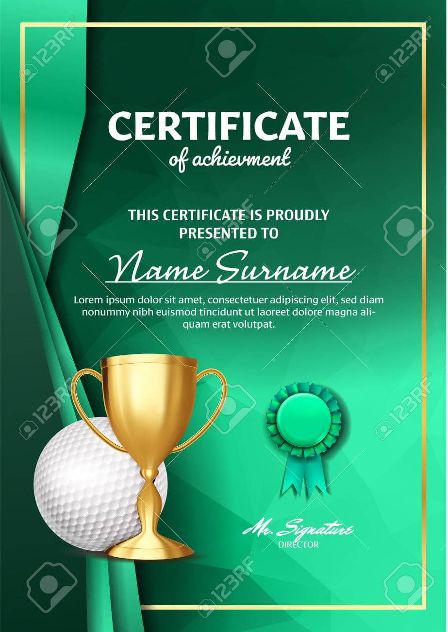 Golf Certificate Diploma With Golden Cup Vector. Sport Award.. Within Golf Certificate Template Free