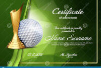 Golf Certificate Diploma With Golden Cup Vector. Sport pertaining to Golf Certificate Template Free