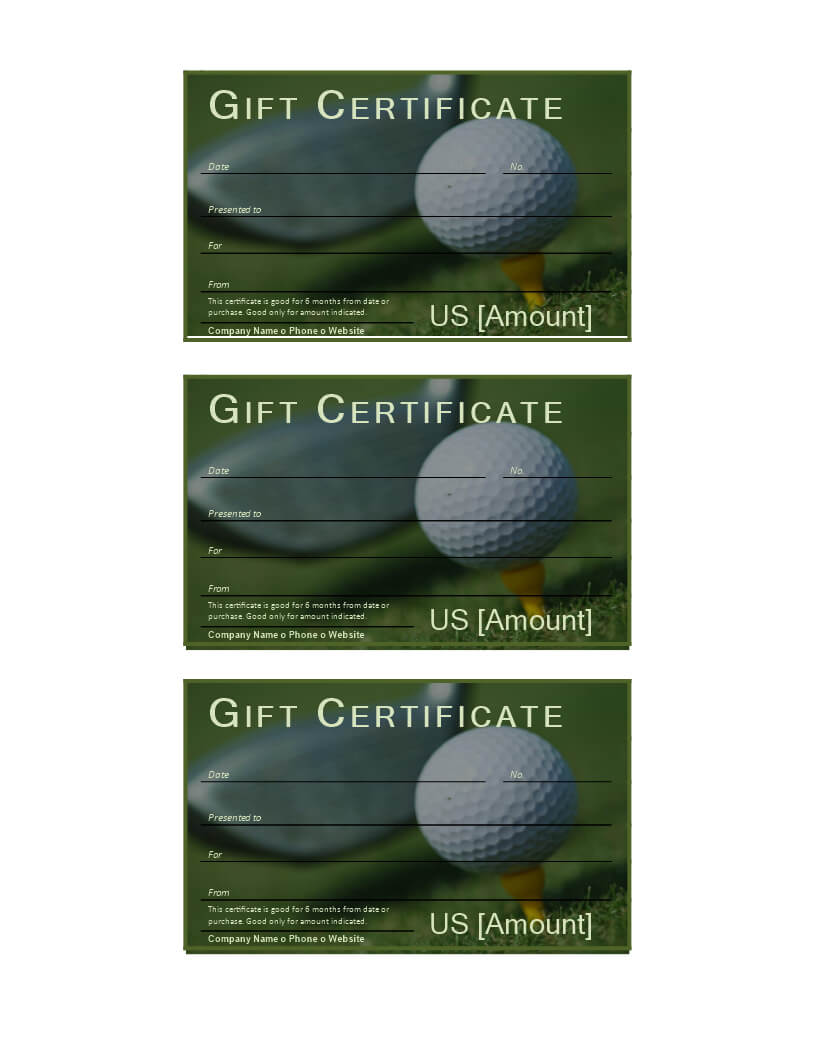 Golf Gift Certificate | Templates At Allbusinesstemplates Regarding Golf Gift Certificate Template