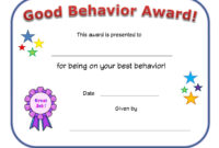 Good Behavior Award Certificate | Printable Certificates Regarding Hayes Certificate Templates