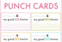 Good Behavior Punch Cards | Behavior Punch Cards, Kids for Free Printable Punch Card Template