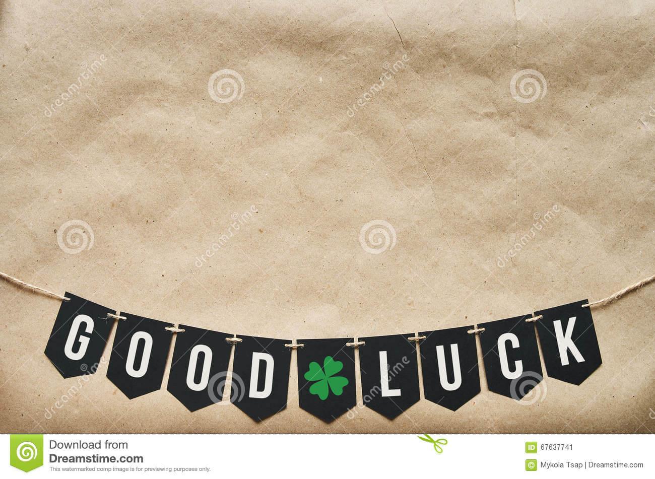 Good Luck Banner Lettering Stock Image. Image Of Craft Regarding Good Luck Banner Template