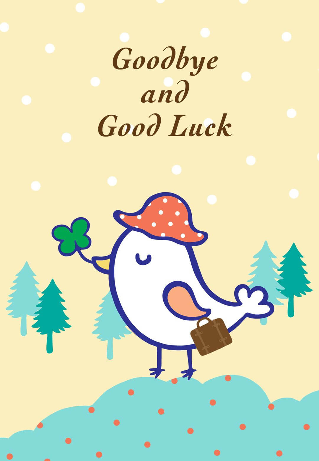 Goodbye And Good Luck - Farewell Card (Free | Goodbye, Good Within Good Luck Card Template