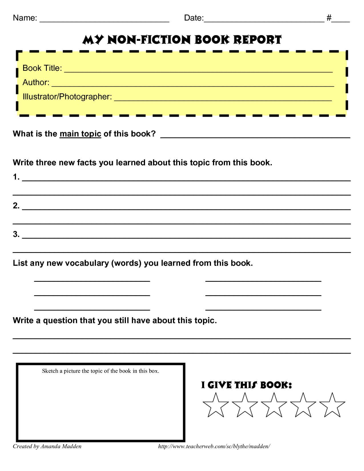 Grade 4 Book Report Template Non Fiction   Book Report For Nonfiction Book Report Template