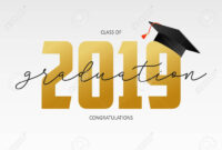 Graduating Card Template. Class Of 2019 – Banner With Gold Numbers.. pertaining to Graduation Banner Template