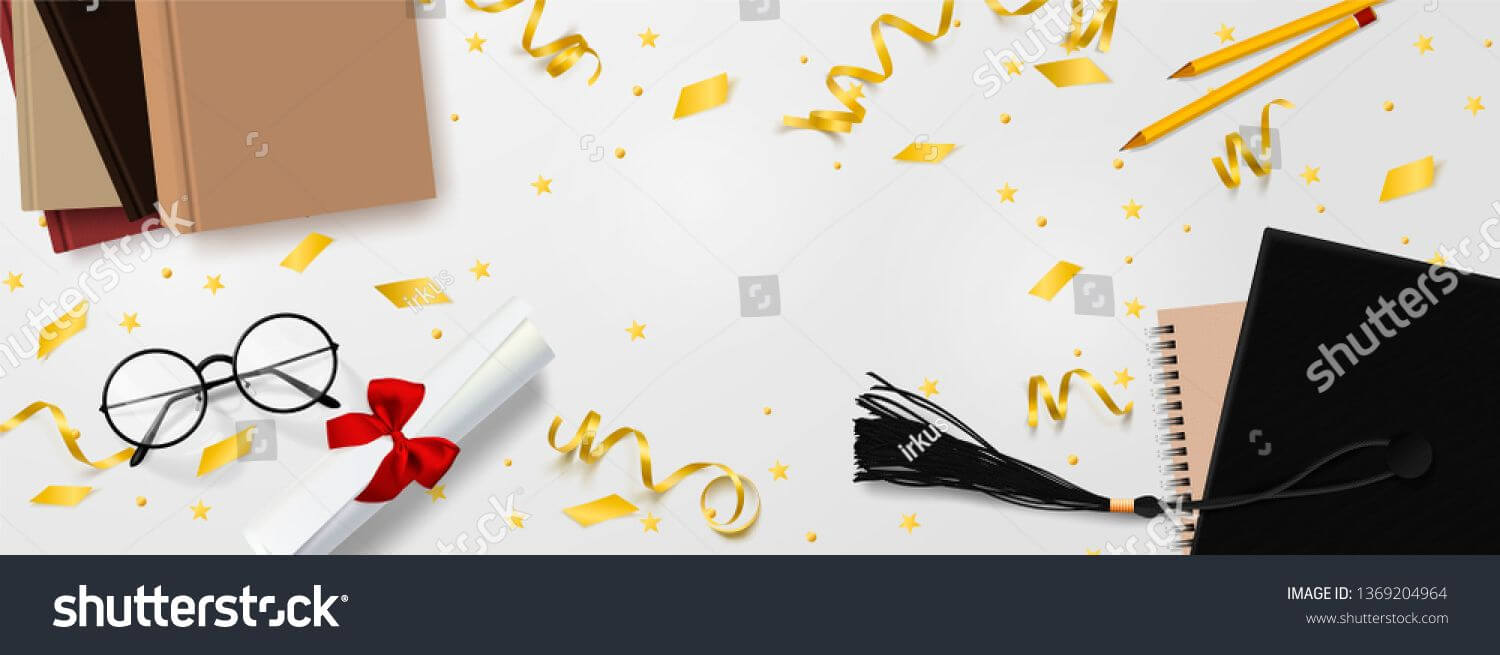 Graduation Vector Banner Template. Background Congrats With Graduation Banner Template