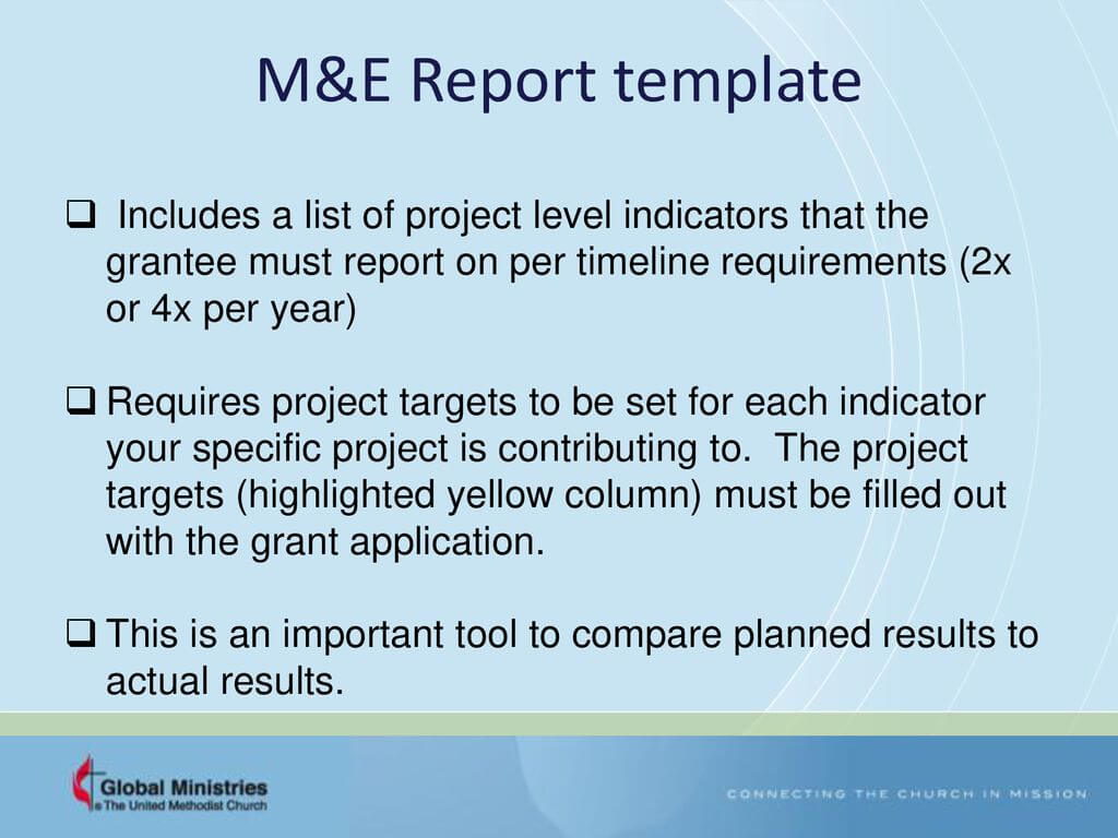 Grants – Workplan And Monitoring And Evaluation (M&e Within M&e Report Template