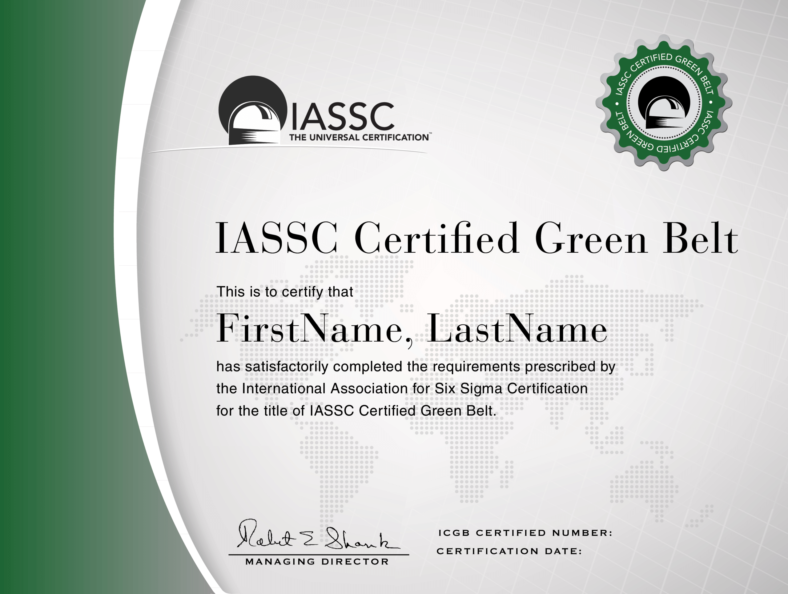 Green Belt Certification | Green Belt, Lean Six Sigma, Black With Regard To Green Belt Certificate Template