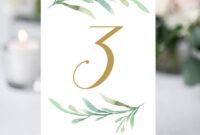 Greenery Wedding Table Numbers Template, Printable Reception regarding Table Number Cards Template