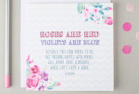 Greeting Card. Lovely Floral Roses Are Red Violets Are Blue with Anniversary Card Template Word