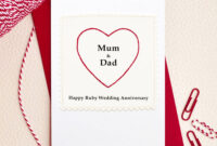 Greeting Card. So Sweet Heart Mum And Dad Ruby Wedding within Template For Anniversary Card