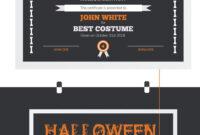 Halloween Best Costume Award Certificate Template #73973 In in Halloween Costume Certificate Template