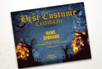 Halloween Best Costume Certificate Editable Template Costume intended for Halloween Costume Certificate Template