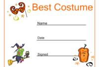 Halloween Best Costume Certificate | Halloween Activities inside Halloween Costume Certificate Template